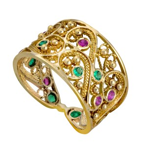 Yemenite Filigree Gold Ring with Pink Ruby & Green Emerald