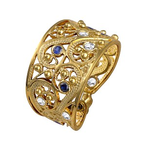 Yemenite Filigree Gold Ring with Blue Sapphire & Lavender