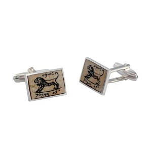 Sterling Silver Jerusalem Stone Tablet Roaring Lion Of Megiddo Cufflinks