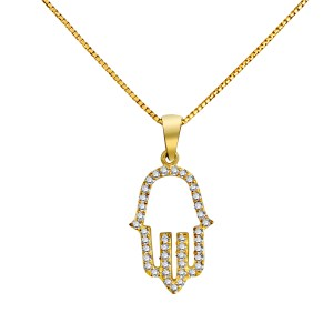18K Yellow Gold Diamond Lined Deluxe Hamsa Pendant