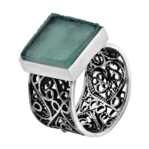 Sterling Silver Filigree & Ancient Roman Glass Square Ring