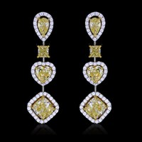 White & Yellow Canary Diamond Earrings White & Yellow 18K ...