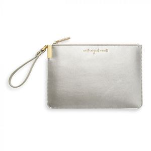Katie Loxton Secret Message Pouch  – Create Magical Moments – Silver