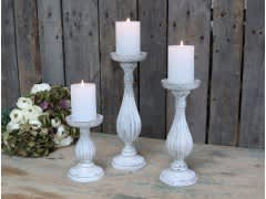 Candlestick For Pillar Candles – White H34cm