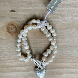 Cream Fresh Water Pearls Outline Heart Bracelet