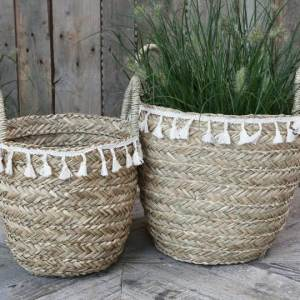 Seagrass Basket With Fringe Large H37cm