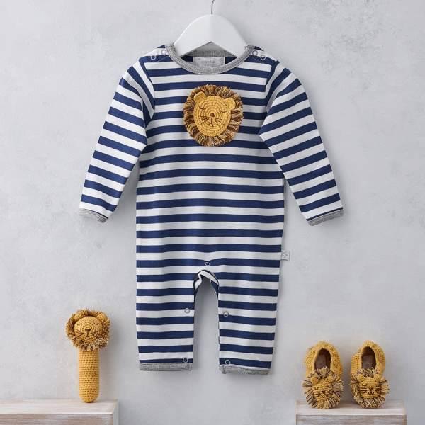 Crochet Lion Face Applique Babygrow 0-3
