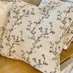 Ragdoll Home Blossom Embroidered Cushion – Grey