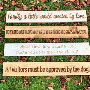 Long 80cm Wooden Plaque – Family A Little World Created By Love.