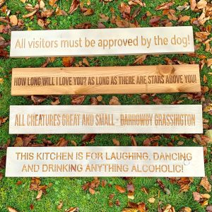 Long 80cm Wooden Plaque – This Kitchen Is For Laughing, Dancing And Drinking Anything Alcoholic .