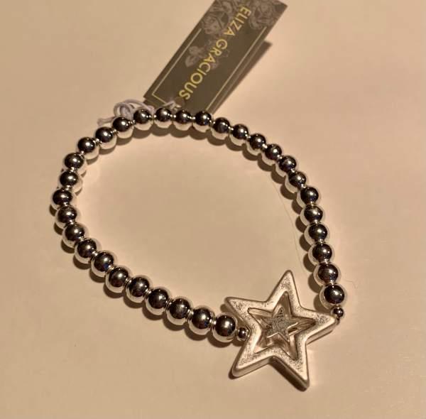 Metal Ball Beaded Bracelet with twin stars