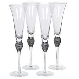 Set Of 4 Black Diamond Champagne Glasses
