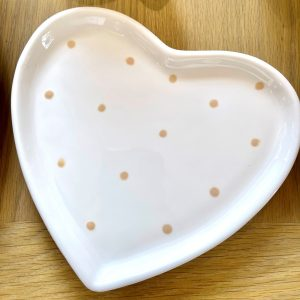 Hand-painted Spotty Heart Dish