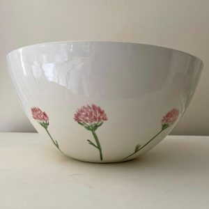 Hand-painted Large Bowl – Red Clover 30cm