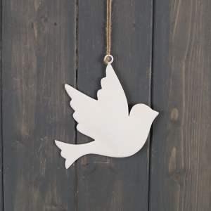 White Enamel Hanging Dove (12cm)