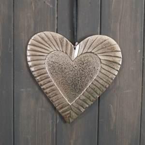 Large Aluminium Hanging Heart With Embossed Edging