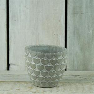 Whitewashed Pot With Heart Design (small)