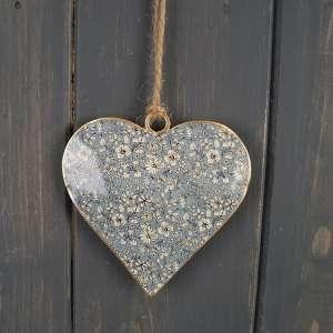 Blue Metal Hanging Heart (8cm)