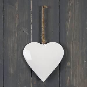 White Enamel Hanging Heart (10cm)