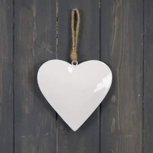White Enamel Hanging Heart (15cm)