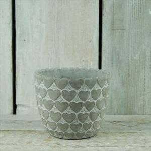 Whitewashed Pot With Heart Design