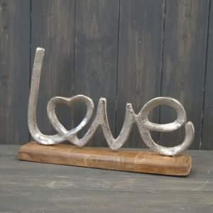 Metal Love Display On Wooden Base