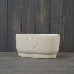 Oval Cream Debossed Heart Trough