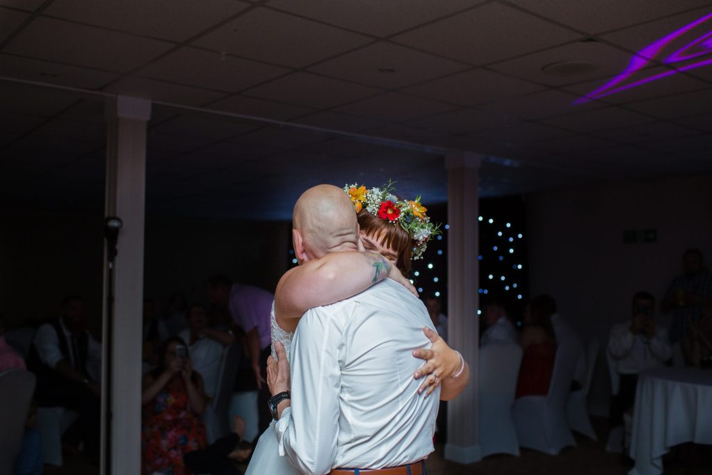father of the bride dancing with her at the wroxeter hotel