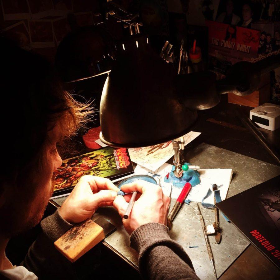 Maxime Macchi creating the Rage Metal 2015 Figurine
