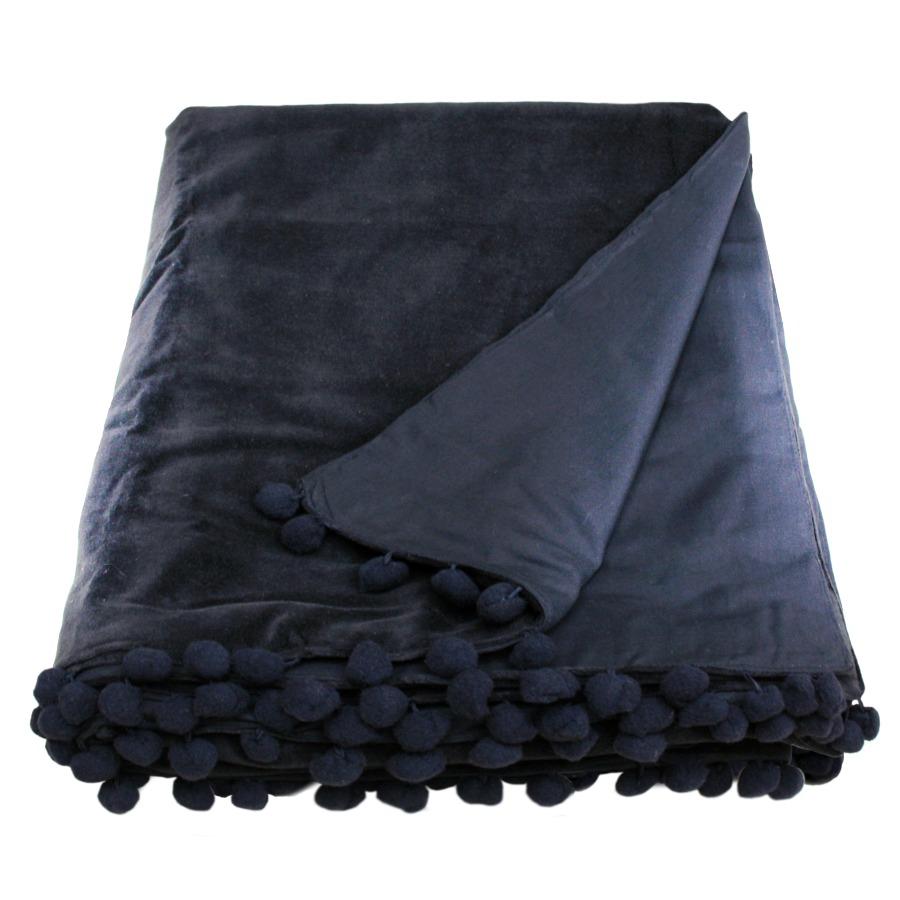 100 polyester sofa throws leather sofas san jose belinda black velvet throw with pom trim by ragged rose