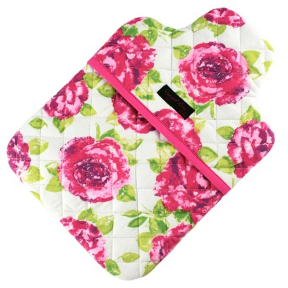 pink floral hot water bottle cover