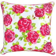 Polly Cushion White and Pink Rose from Ragged Rose