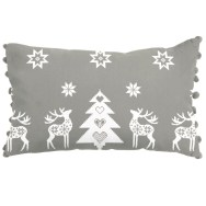 Silver Grey Christmas Star Cushion