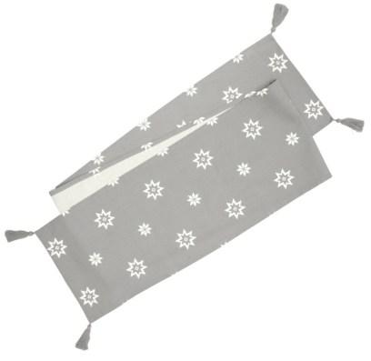Christmas Silver Grey Festive Star Table Runner