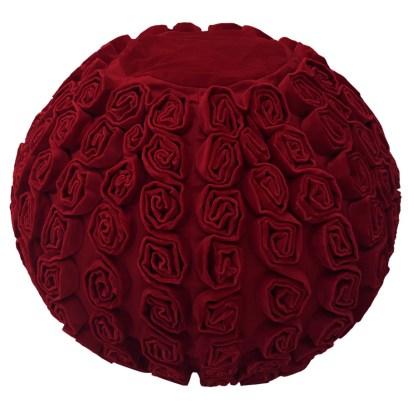 Red Velvet Pouffe