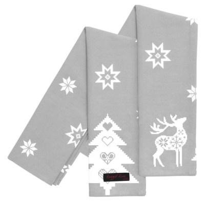 Silver Grey Christmas Reindeer Tea Towels
