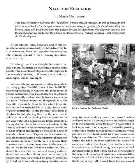 Nature in Education by Maria Montessori