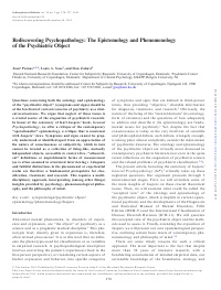 Rediscovering Psychopathology: The Epistemology and Phenomenology of the Psychiatric Object