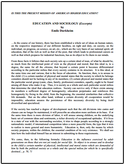 Education and Sociology Excerpts by Emile Durkheim