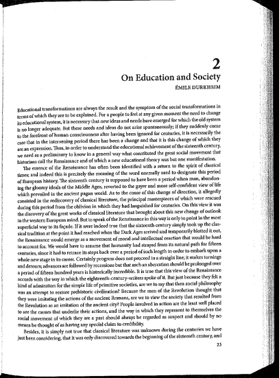 On Education and Society by Emile Durkheim