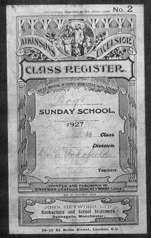 Chartered Street Ragged School Sunday School Register 1927