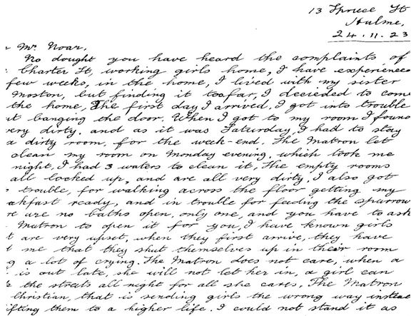 Letter of Complaint to Charter Street Ragged School