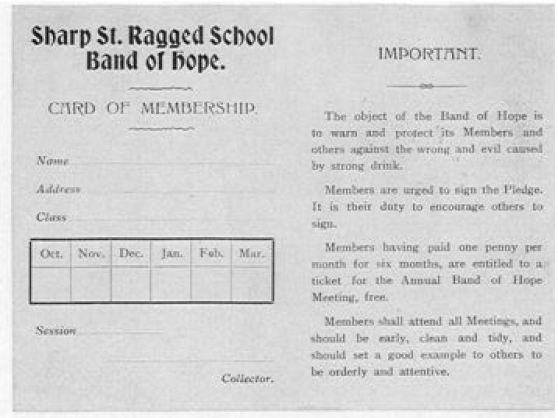 Sharp Street Card of Membership to Band of Hope