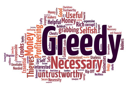 Word cloud reveals the publics opinion of banks