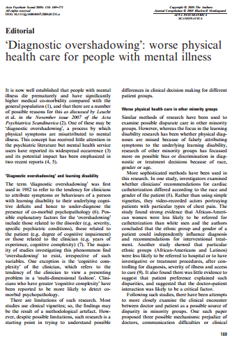 Diagnostic overshadowing worse physical health care for people with mental illness