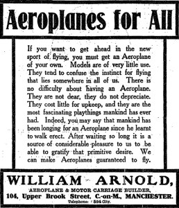Aeroplanes for All advert, William Arnold, Manchester Guardian 19 October 1909