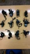 Twelve laptop power supplies