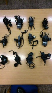 Twelve laptop power supplies