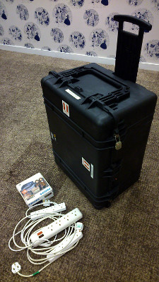 An extendable handle enables the flycase to be wheeled