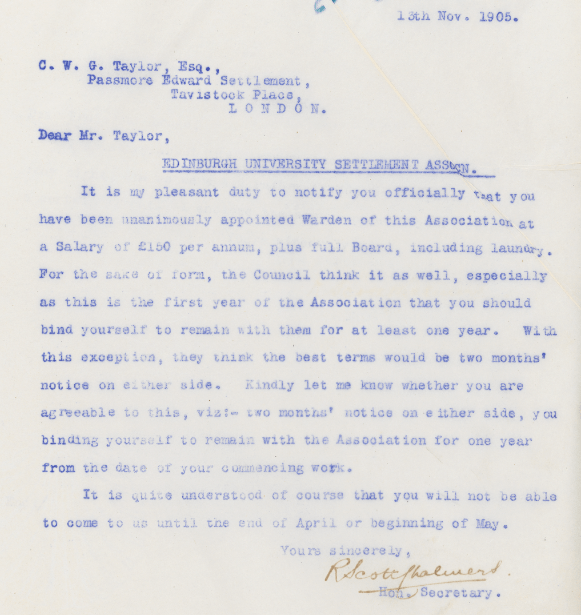 Letter From Secretary of Edinburgh Settlements